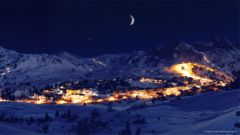 Vackert nattlandskap i Obertauern.