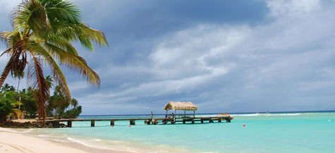 En strand på sköna Tobago.