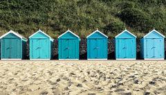Klassiska badhytter i Bournemouth, England.